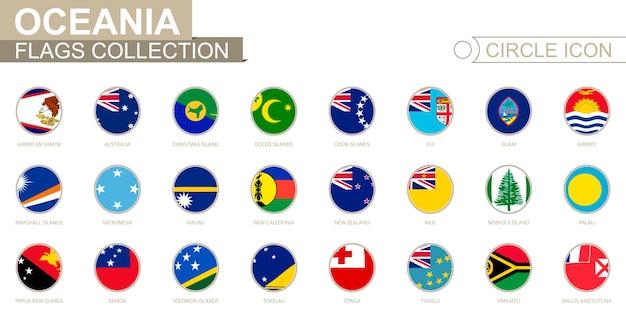 Alfabetisch gesorteerde cirkelvlaggen van oceanië. set ronde vlaggen. vectorillustratie.