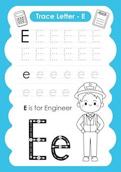 Alfabetisch overtredingswerkblad met beroepenwoordenschat door letter e engineer