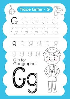 Alfabetisch overtrekwerkblad met beroepswoordenschat door letter g-geograaf