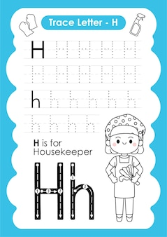 Alfabetisch overtrekwerkblad met beroepswoordenschat door letter h housekeeper
