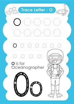 Alfabetisch overtrekwerkblad met beroepswoordenschat door letter o oceanograaf