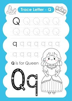 Alfabetisch overtrekwerkblad met beroepswoordenschat door letter q queen