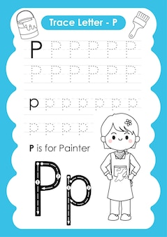 Alfabetisch werkblad met beroepswoordenschat door de letter p-schilder