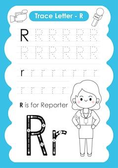 Alfabetisch werkblad met beroepswoordenschat door letter r reporter
