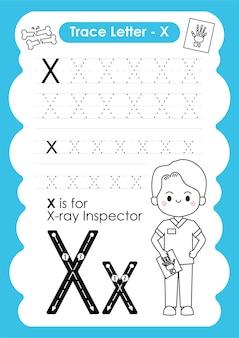 Alfabetisch werkblad met beroepswoordenschat door letter x xray inspector