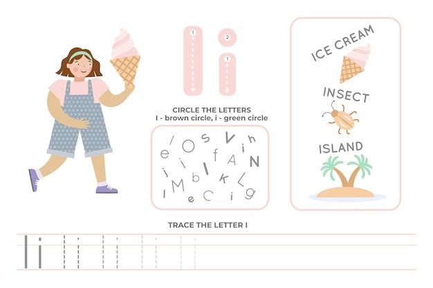 Alfabetisch werkblad met de letter i