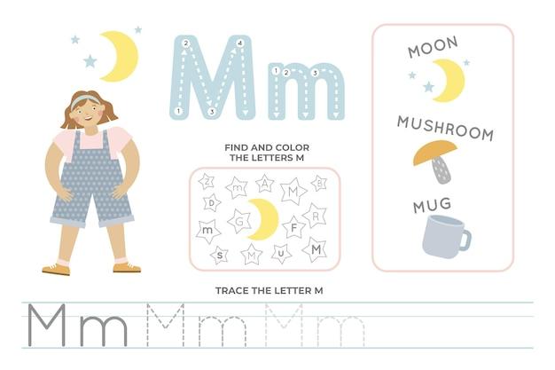 Alfabetisch werkblad met de letter m