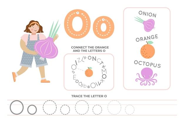 Alfabetisch werkblad met de letter o