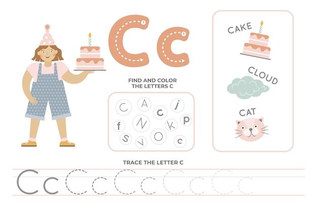 Alfabetisch werkblad met letter c