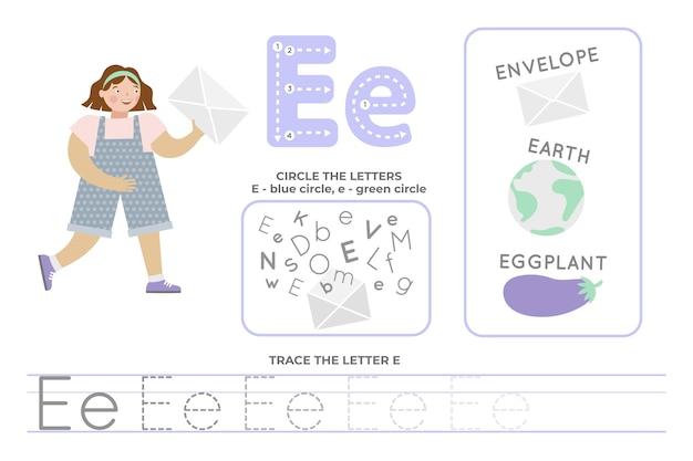 Alfabetisch werkblad met letter e