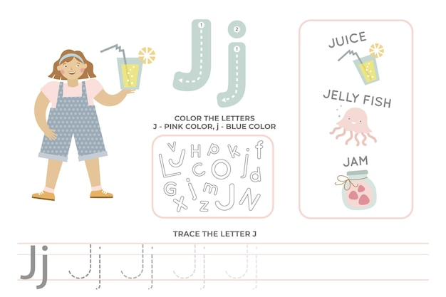 Alfabetisch werkblad met letter j