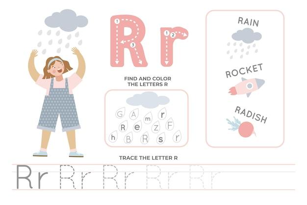 Alfabetisch werkblad met letter r