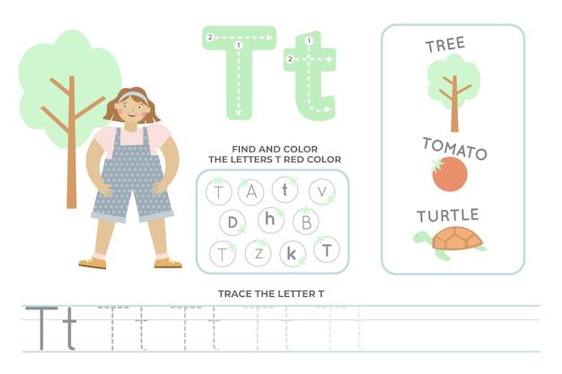 Alfabetisch werkblad met letter t