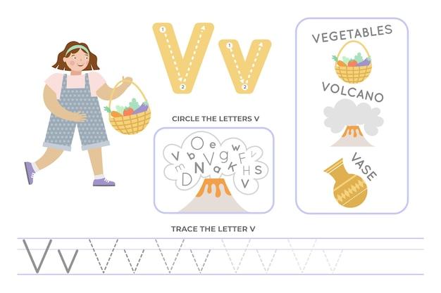 Alfabetisch werkblad met letter v