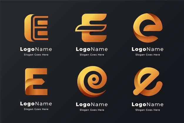 Alfabetische letter e logo-collectie