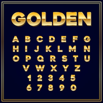 Alfabetische lettertypen gouden letter met cijfers