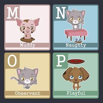 Alfabetkaart met dierenontwerp van m tot p