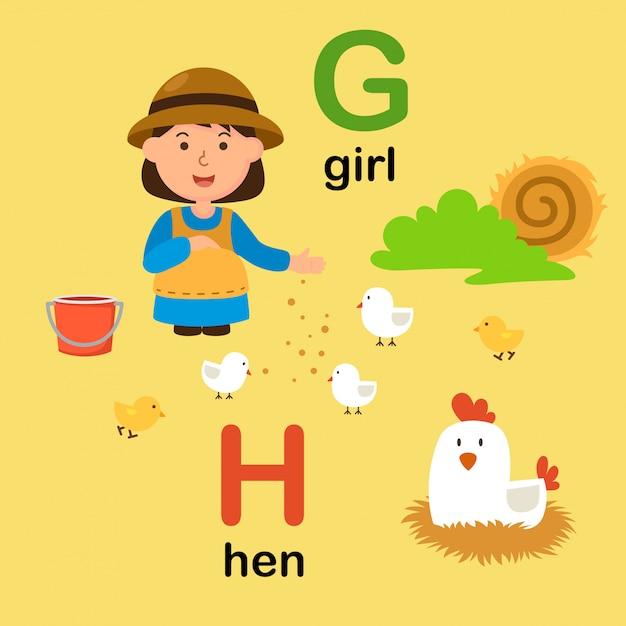 Alfabetletter g voor meisje, h voor kip, illustratie