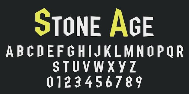 Alfabetletters en cijfers van steen