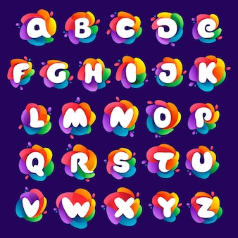 Alfabetletters ingesteld op kleurrijke veelkleurige gradiëntplons perfect lettertype voor medialabels