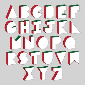 Alfabetletters met 3d isometrisch effect op grijze achtergrond