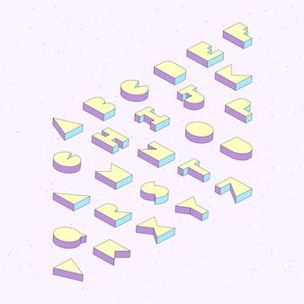 Alfabetletters met 3d isometrisch effect op samenvatting