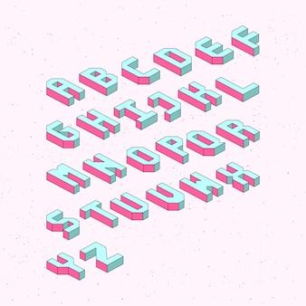 Alfabetletters met 3d isometrisch effect