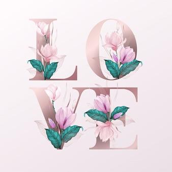 Alfabetletters met aquarel bloemen