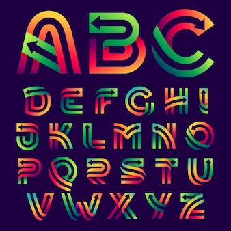 Alfabetletters met pijlen erin. vector felle kleuren lettertype voor leveringslabels, zakelijke koppen, financiële posters, sportkaarten enz.