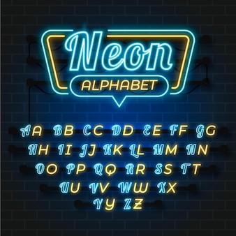 Alfabetontwerp in neonstijl