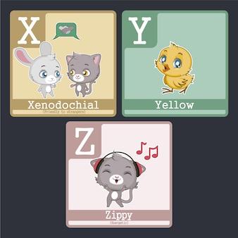 Alfabetskaarten met dierenontwerp van x naar z