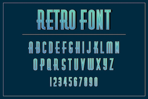 Alfabetverzameling van a tot z in 3d-retrostijl