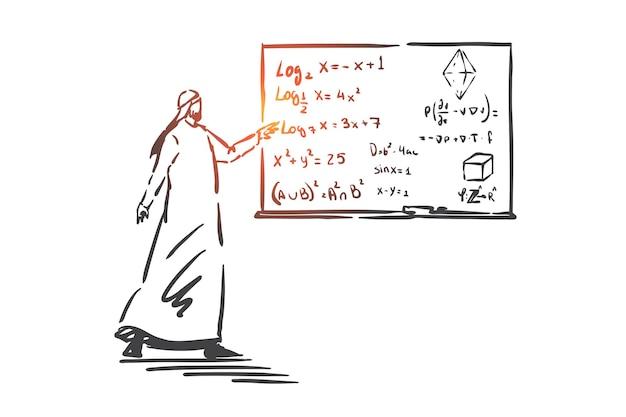 Algebra les, onderwijs concept illustratie