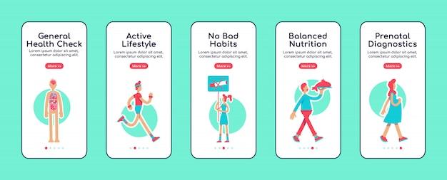Algemene gezondheidszorg onboarding mobiele app-schermsjabloon
