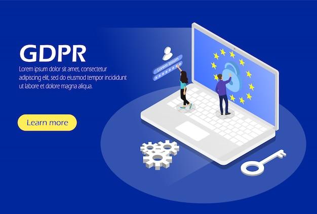 Algemene verordening gegevensbescherming. concept met karakter. veiligheid en privacy. isometrisch.