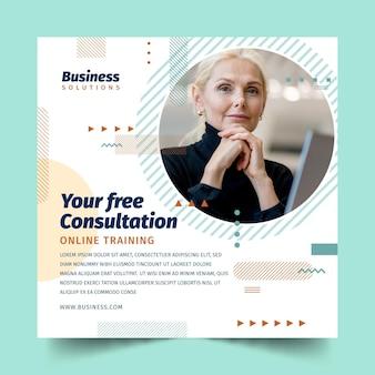 Algemene zakelijke consultatie vierkante flyer