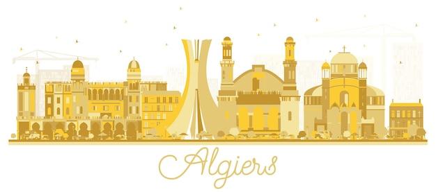 Algiers algerije city skyline gouden silhouet. vectorillustratie. eenvoudig plat concept voor toeristische presentatie, banner, plakkaat of website. algiers stadsgezicht met monumenten.