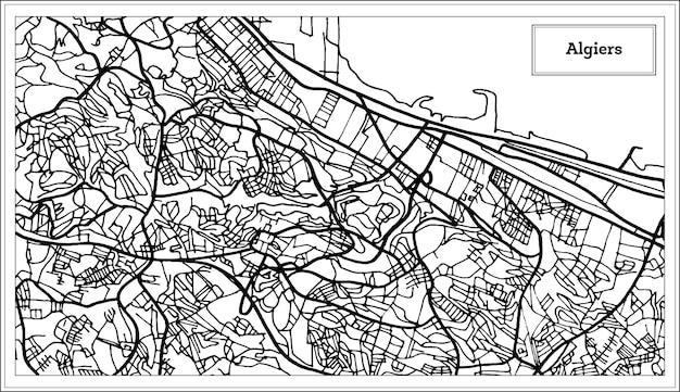 Algiers algerije kaart in zwart-witte kleur. vectorillustratie. overzicht kaart.