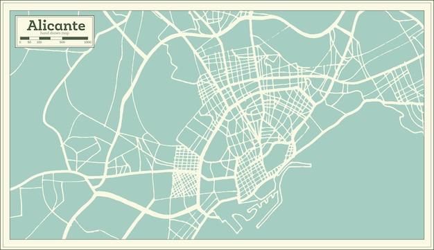 Alicante spanje stadsplattegrond in retro stijl. overzicht kaart. vectorillustratie.