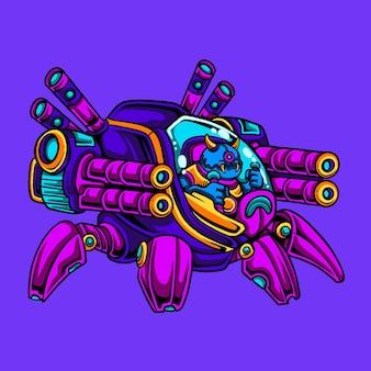 Alien cartoon rijdende spin robot tank