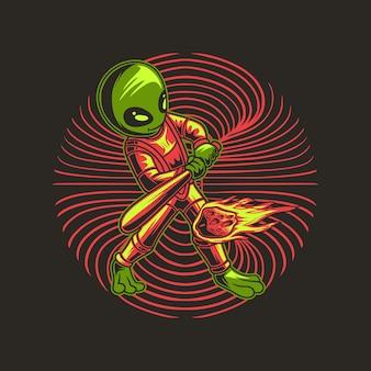 Alien die honkbal speelt door een illustratie van de komeetbal te raken
