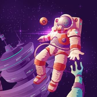 Alien eerste contact cartoon vector concept met astronaut in futuristische ruimtepak hand reiken naar e