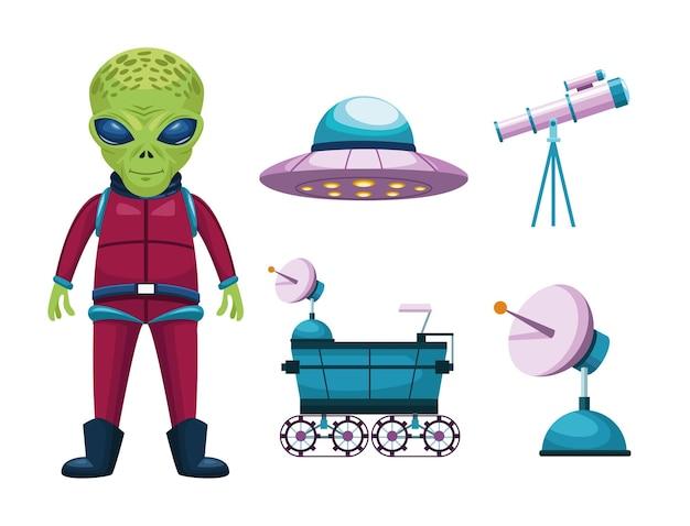Alien en pictogrammen