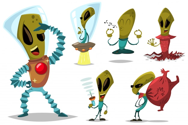 Alien en ufo vector cartoon set.