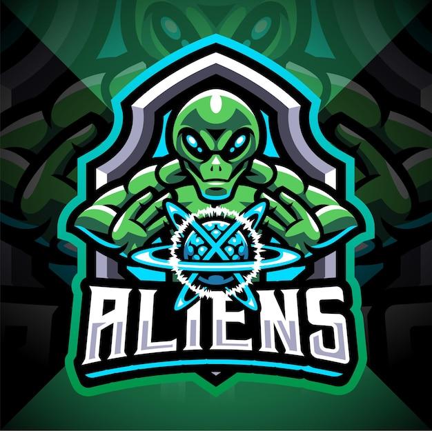 Alien esport mascotte logo-ontwerp