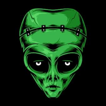 Alien frankenstein hoofd vector logo