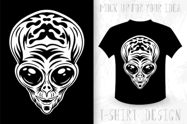 Alien gezicht. idee voor t-shirt print in vintage zwart-wit stijl.