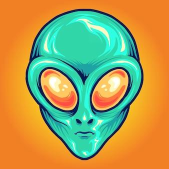 Alien head cartoon mascotte illustraties