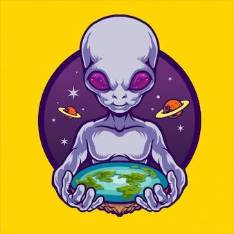 Alien hebben een platte aarde illustratie