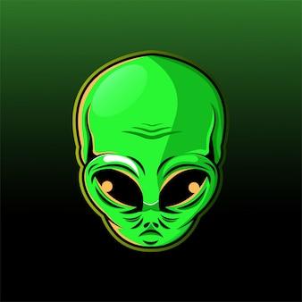 Alien hoofd mascotte logo